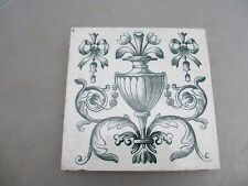 Antique Ceramic Tile Floral Architectural Victorian Vintage Urn Gilt Ribbon Bow