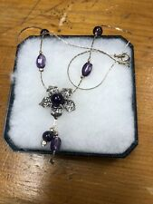 Sterling Silver Amethyst Beaded Floral Necklace