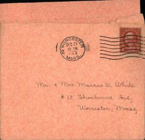 1923 Worcester Massachusetts (MA) Envelope Mr. and Mrs. Marcus W. White