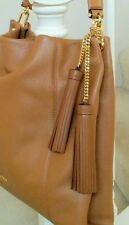 Michael Kors Gold Chain / Large Acorn Brown Leather Tassel Handbag Fob Charm Tag