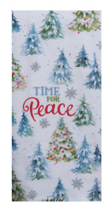 TIME FOR PEACE Christmas Trees, Glitter Snowflakes Dual Purpose Kitchen Towel