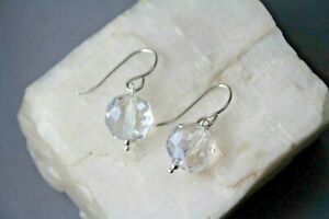 """Quartz Crystal 10mm Faceted Round .925 Sterling Silver Gemstone Earrings 1 1/4"""""""