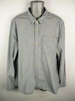 MENS FAT FACE BLUE/WHITE STRIPED BUTTON UP LONG SLEEVED CASUAL SHIRT 2XL 2XLARGE