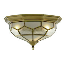 Searchlight 1243-12 Antique Brass Flush Light Clear Frosted And Sanded Glass
