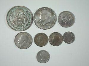 Lote 8 Monedas Extranjeras Inglaterra, Venezuela, Mexico, USA... Plata
