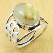 GOLDEN RUTILE QUARTZ Ring Size T 1/2 ! Silver Plated Jewellery WHOLESALE PRICE