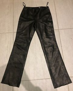 DKNY black leather trousers size 6