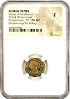 Roman Constantinopolis Coin NGC Certified Fine,With Story,Certificate