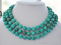 10mm round green turquoise bead necklace female rounds beads chain new