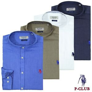 Camicia uomo P-CLUB 100% lino manica lunga collo coreana taglie S M L XL XXL 3XL