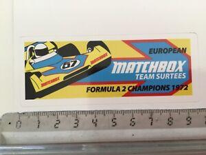 Sticker / Aufkleber, Surtees Matchbox, Formula 2 Champions 1972
