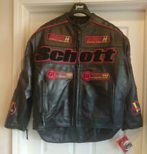 Mens SCHOTT Racer6, Black/Red Leather Motorcycle Jacket, Size 2X 2XL, NEW NWT