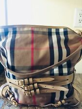 Authentic Burberry Bridle House Check Bag - Large