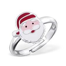 Childrens Girls Adjustable Santa Christmas Ring - Sterling Silver - Gift Boxed