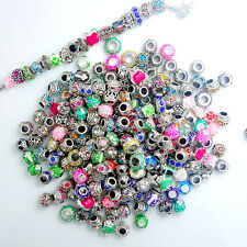 Hot Mixed Silver Rhinestone Spacer European Charm BeadS Fit Necklace Bracelet