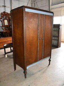 Antique 2 Door Walnut Bedroom Armoire, Wardrobe Closet