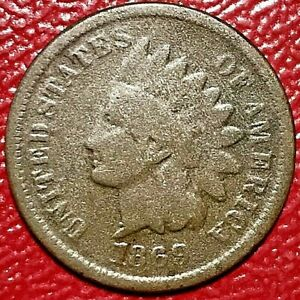 "1869/9 ""9 OVER 9"" INDIAN HEAD CENT"