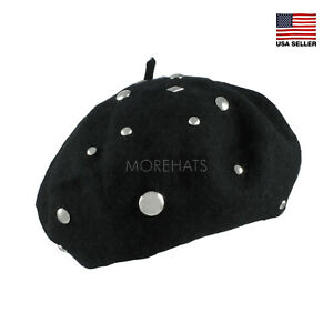 Moerhats Women's Wool Mixed Studs Studded Beret Warm Winter Ski Casual Warm Hat