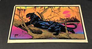 "1973 Jungle Cat Black Light Original Poster Velva Print AA Sales Rare 17"" X 11"""