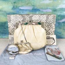 $895 JUDITH LEIBER Ivory Lizard Skin Crystal Gemstone Evening Clutch Bag SALE!
