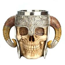 3D Skull Cup Beer Coffee Tea Beverage Stainless Steel Mug Viking Warrior Skull