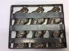 Vintage Easter Metal Folding Chocolate Bunny Mold 1 Side Kitchen Art P1