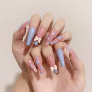 Sweet Blue Pink Heart False Nails Long Coffin French Artificial Press On Nails