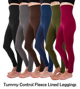 S M L XL 2XL Essential High Waist Compression Tummy Control Fleece Leggings Plus