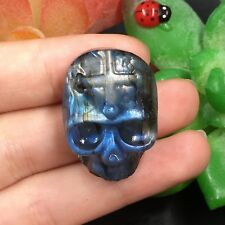 TOP-15g Natural Labradorite Skull Hand Carved Sculpture Healing Reiki B3138