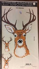 Decal deer head Vintage 1986 hand painted effect, Decorcal, self adhesive W-31