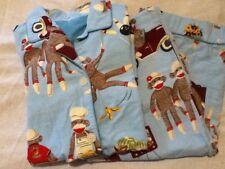 Vtg. Nick & Nora Women's M Sock Monkey Blue Pajamas San Simian Bowling, Cars,