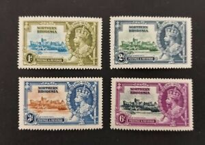 """Northern Rhodesia 1935, """"Silver Jubilee"""" set of 4x mint stamps mh"""