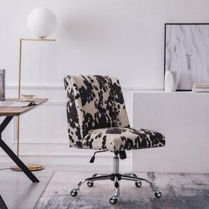 Milk Cow Velvet Office Chair Accent Armchair Swivel Computer Desk Chair On Wheel