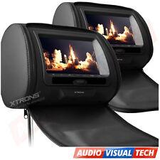 """2x 7"""" HD Digital Headrest DVD Player Twin Dual Headrest Screen Monitor USB BLACK"""