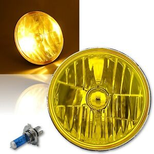 "H6024/6014 7"" Yellow Amber Crystal Glass Headlight H4 Halogen Fog Light Single"