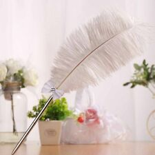 Wedding Ostrich White Feather Long Quill Guest Book Signing Pen with Diamante
