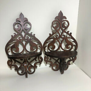 Vintage Pair of Victorian Shelves Wooden Scrollwork Mini Shelf 12.5 Inches High