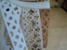 Casadei Women White, Beige, Gold beaded Heels ~ US 8M  ~New in bag ~ Italy