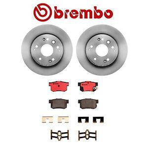 2-Brembo Rear Brake Rotors & Pads Kit for Acura TL Base S & Honda Element