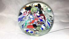 MURANO SCRAMBLE Art Glass Paperweight LATTICINO Ribbons ITALY