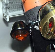 DIMPLED OLD BULLET TURN SIGNAL LIGHTS BLACK/ SMOKED/AMBER HARLEY BOBBER 1-PAIR