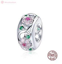 Charm Anhänger w.f. Pandora Blumen Blüten Baum Blätter Spacer 925 Sterlingsilber