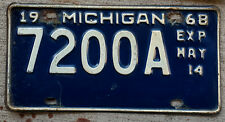 1968 White on Blue Michigan ½ Year Heavy Truck License Plate