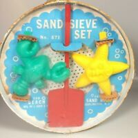 J Chein tin metal sand sifter shovel sand molds Vintage beach toys movie prop