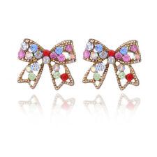 Ladies Girls Colorful Gold Rhinestone Bow Earrings Fashion Jewellery