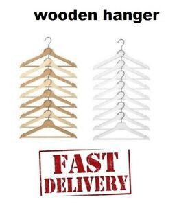 8 x  WOODEN COAT HANGERS SUIT GARMENTS CLOTHES WOOD HANGER TROUSER BAR SET