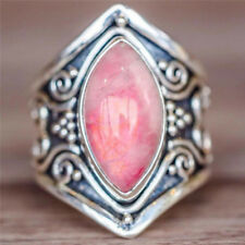 Retro Beautiful Fashion  Silver Jewelry Temperament Pink opal Ring Size 7