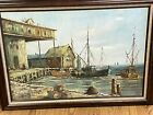 Vtg original signed Brian Roche large framed painting New England fishing Boats