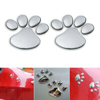 2x Cute Bear Paw Pet Animal Footprints Emblem Car Truck Decor 3D Sticker Decal
