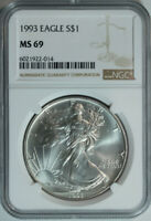 1993 Silver American Eagle Dollar / NGC MS69 / Mint State 69 🇺🇸